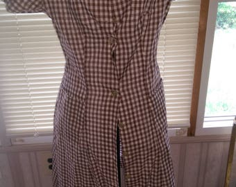 Brown and White Cotton House Dress
