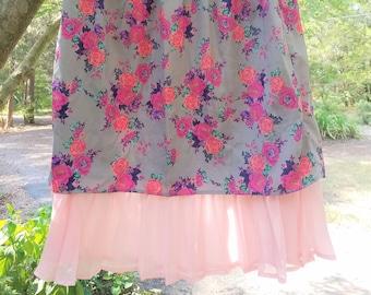 Upcycled Midi Floral Skirt