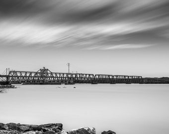 Santa Fe RailRoad Bridge Mississippi River Fort Madison Iowa fine art B&W photograph