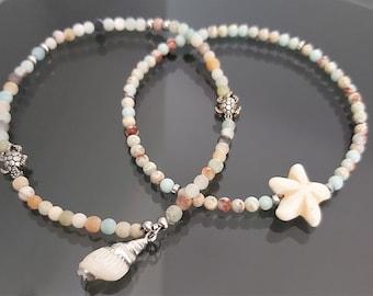 "Ankle bracelet ""Caribbean Sea"""