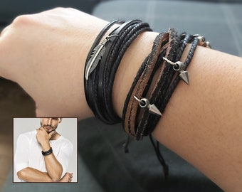 Unisex leather bracelet and cord