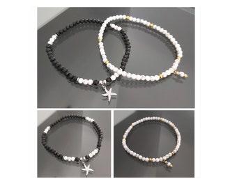 Black or white ankle bracelet