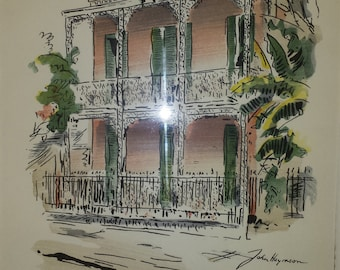 New Orleans old residence,  Charming Pen & Ink Sketch