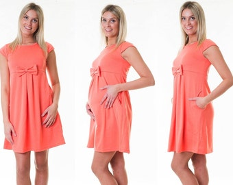 Dress maternity dress loop Summerdress maternity dress coral