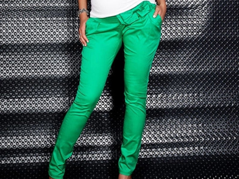 Maternity trousers hose Bow pants Green
