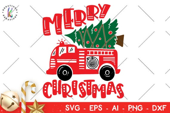 Fire Truck Christmas Tree Svg Christmas Tree Svg Fire Truck Etsy
