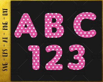 Polka Dot SVG Font Alphabet SVG / Letters Numbers SVG cut cuttable cutting files Cricut Silhouette / Instant Download vector svg png eps dxf