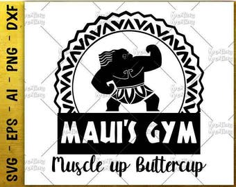 Muscle up Buttercup SVG Fitnes shirts SVG maui's gym svg workout cut cutting file Cricut Silhouette Instant Download vector SVG png eps dxf
