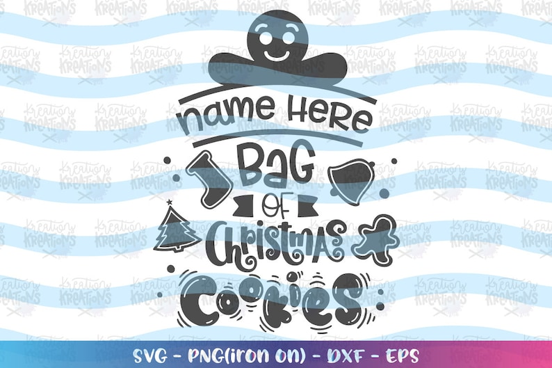 Custom Christmas Name Cookie Bag svg Custom Kids Name svg image 0