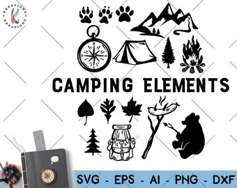 Camping Elements svg  Campfire bear mountains tent sausage compass print decal cut file silhouette cricut studio  download svg eps png dxf