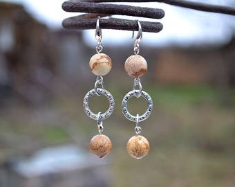 Picture jasper earrings, Brown jasper earrings, French hook picture jasper earrings, Silver earrings jasper, Picture jasper drop earrings.