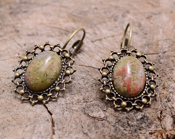Green jasper copper earrings, Green jasper earrings, Jasper copper earrings, Jasper earrings, Copper earrings jasper, Jasper drop earrings.