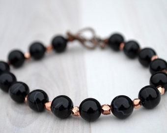 Black agate bracelet, Black banded agate bracelet, Beaded black agate bracelet, Genuine black agate bracelet, Agate gift, Black bracelet.