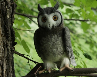 Made to order (this very item is alredy SOLD) White faced owl, wise owl, realistic owl
