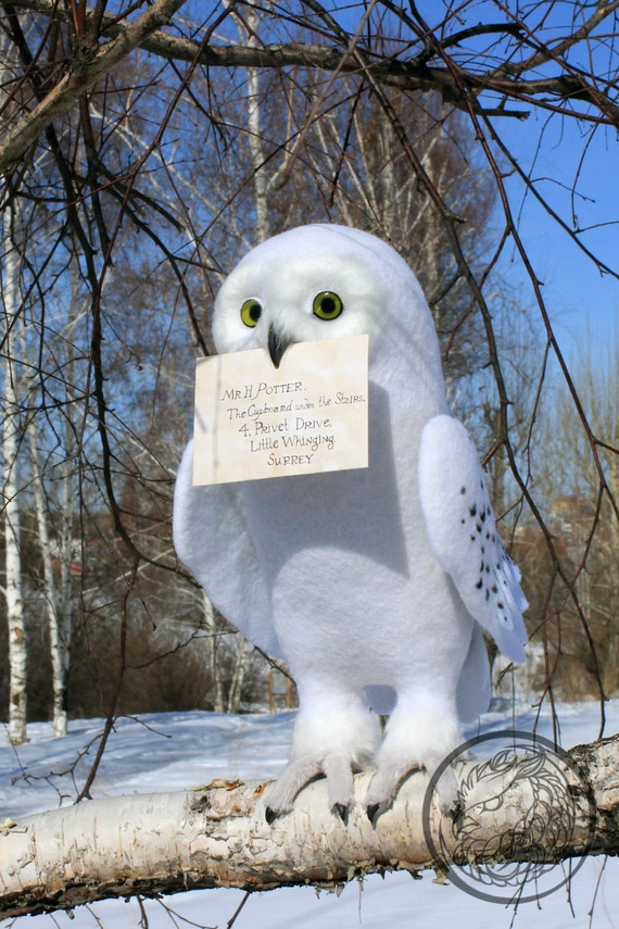 Made to order (this very item is alredy SOLD) Snowy white owl, Arctic owl, Harry Potter owl, Soft sculpture Animal figurines, Faux taxidermy
