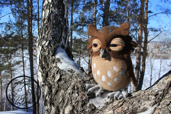 Made to order (this very item is alredy SOLD) Coffee owl, owl toy, felted animals, night owl, owl bird, owl, bird toys, OOAK figurine