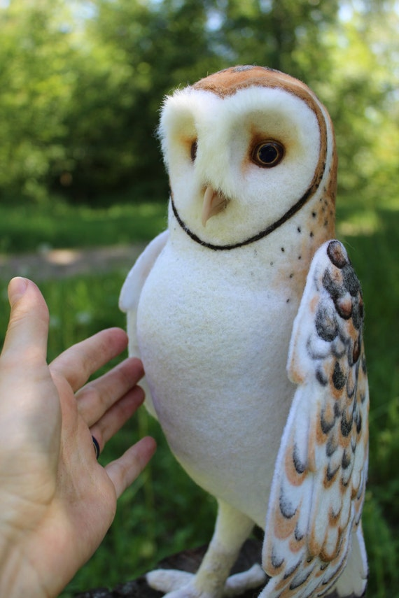 Made to order (this very item is already SOLD) Barn owl, Faux Taxidermy, Soft sculpture, Collectible art doll animal, Felted animals