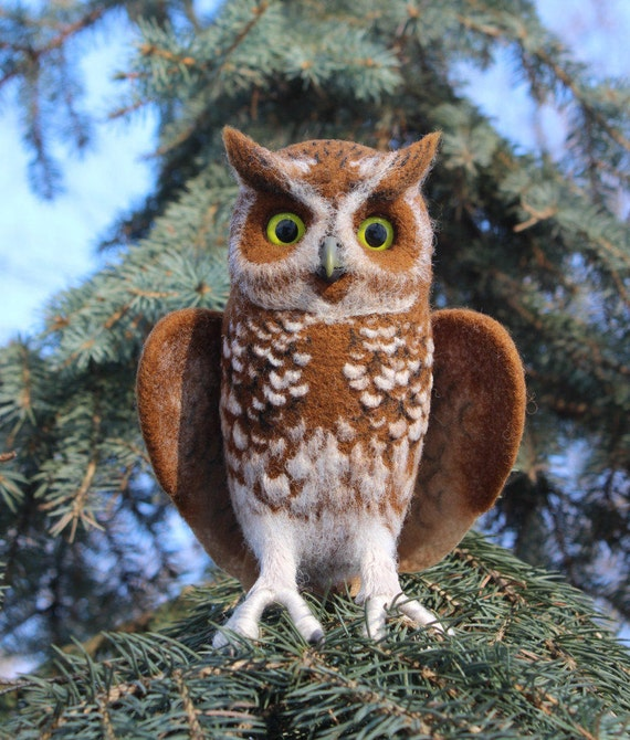 Made to order (this very item is already SOLD) Dwarf owl, Needle Felted Realistic owl, faux taxidermy, soft sculpture, Woodland creature