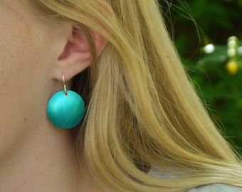 Vibrant bright turquoise domed earrings; striking blue aquamarine; lightweight round; colourful; adjustable to clip on earrings; womens gift