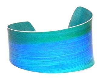 Blue wave cuff bracelet: Turquoise sea green; artist; ladies bright summer bangle; asymmetric; adjustable lightweight; womens unique gift