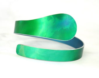 Green Canopy spiral cuff bangle: anodised aluminium; women's gift; bright colourful; unusual; trajectory; adjustable open-ended; asymmetric