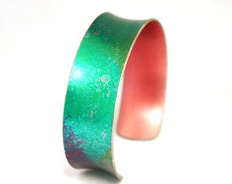 Vibrant green narrow bangle; ladies metal turquoise cuff bracelet; summer jewellery; bright jewellery; birthday gift for women girls mother