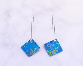 Small blue floral square earrings, lightweight dangly, long drop, adjusted to clip on; modern colourful earrings; womens gift; art jewellery