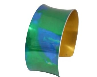 Anodised aluminium aqua bright green and blue cuff bracelet: adjustable open-ended bangle; lightweight women's gift; vivid colourful jewelry
