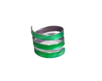 Bright green and blue triple twist wrap metal ring; anodised aluminium; adjustable curly ring; open ended spiral ring; large statement ring