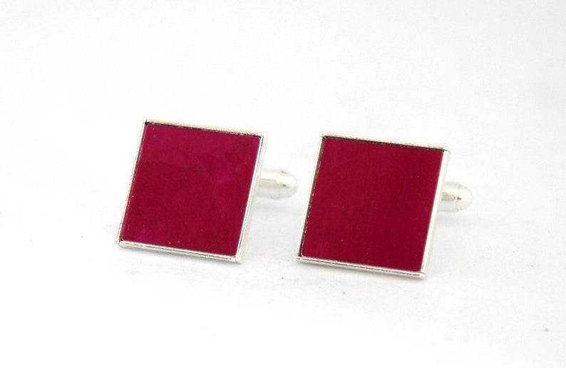 Magenta cufflinks pink cuff links colourful men's image 0