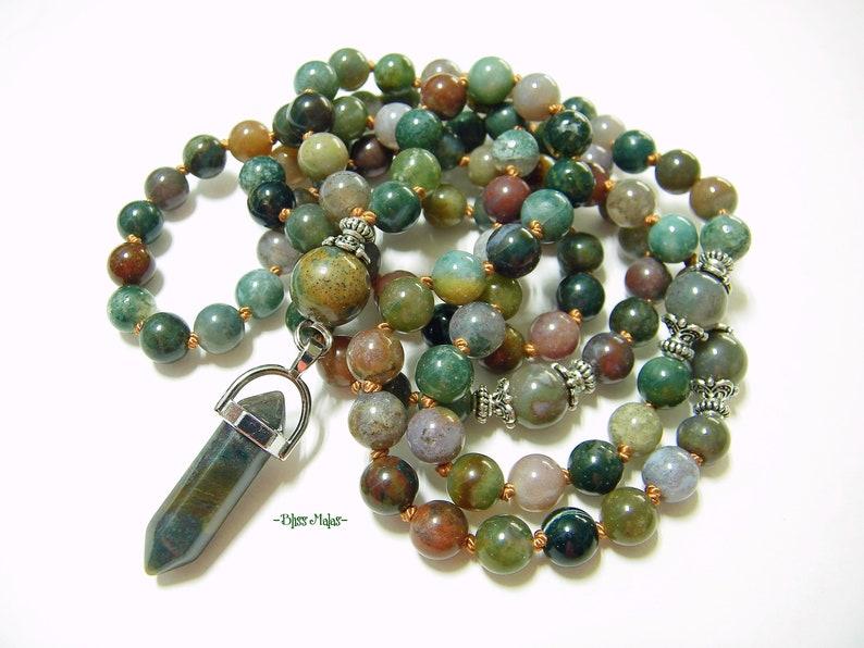 Mala Prayer Beads 108 Knotted, India Agate, Pendant Mala Necklace,  Meditation Jewelry, Yoga Beads, Spiritual Jewelry, Japa, Mantra, Green