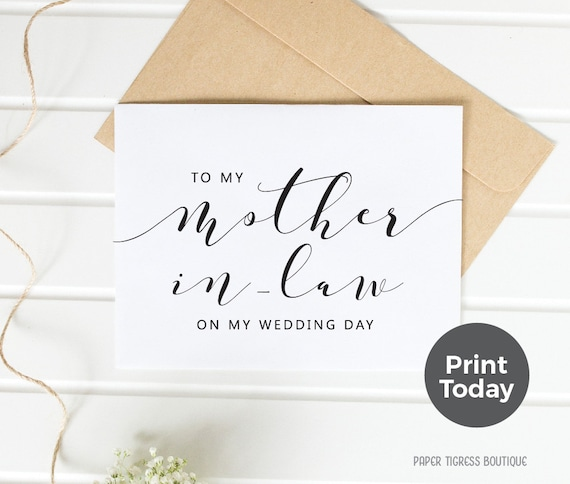 To My Mom in Love  Wedding Card Black and White Printable Card Mother in law Card Instant Download