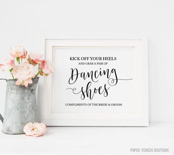 0fbc32b6f3d0 Dancing shoes sign Printable Wedding dancing feet sign Flip