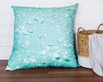 Aqua Bubble Floor Cushion | Original Ocean Art Giant Pillow | Surf Decor Bean Bag | Tropical Designer Coastal Cushion | Beach Hut Interior