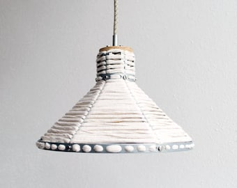 Hanging lamp ' white '-lamp-hanging lamp-accessory-living-interior-metal-wood-fabric