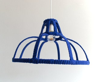 PENDANT LAMP 'FRAME BLUE' - handmade - lamp - pendant lamp - accessory - living - interior - metal - wood - fabric