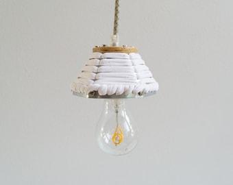 PENDANT LAMP 'MINI' - handmade - lamp - pendant lamp - accessory - living - interior - metal - wood - fabric - cotton - textile - metal band