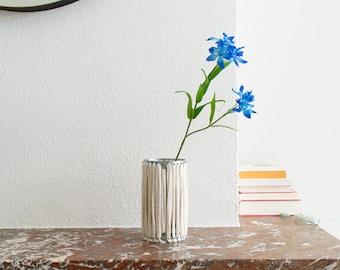 VASE 'STRAIGHT' - handmade - beige - vase - flower vase - accessory - living - interior - metal - fabric - cotton - textile - metal band