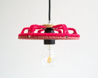PENDANT LAMP 'OPEN RED' - handmade - lamp - pendant lamp - accessory - living - interior - metal - wood - fabric - cotton - textile - metal band