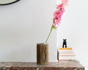 VASE 'STRAIGHT' - handmade - gold - vase - flower vase - accessory - living - interior - metal - fabric - cotton - textile - metal band