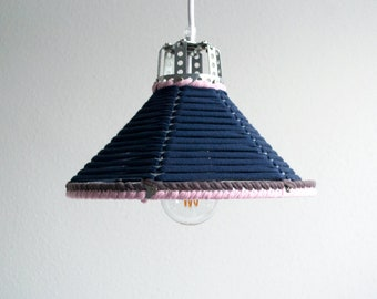 PENDANT LAMP 'BLUE-PINK' - handmade - lamp - pendant lamp - accessory - living - interior - metal - fabric
