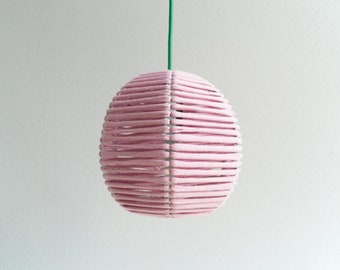 PENDANT LAMP 'BOL ROZE' - handmade - lamp - pendant lamp - accessory - living - interior - metal - wood - fabric