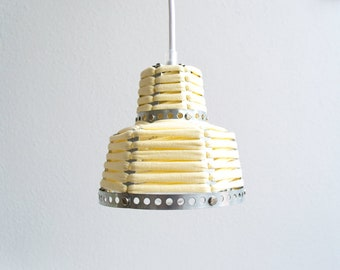 PENDANT LAMP 'YELLOW' - handmade - lamp - pendant lamp - accessory - living - interior - metal - fabric - cotton - textile - metal band