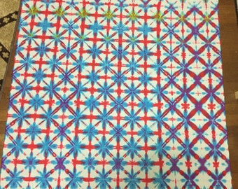 CLEARANCE Red and blue shibori cotton fabric. ITAJIME SHIBORI- Dyed witb fiber reactive dyes 44x45 inches unhemmed