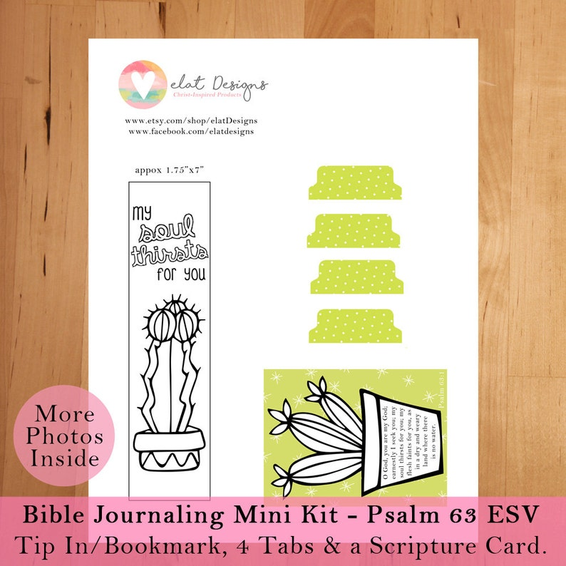 Bible Journaling Mini Kit - Psalm 63 ESV - Instant Download Printable