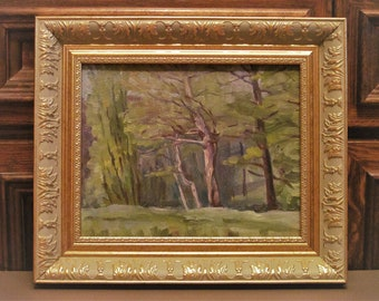 Vintage spring landscape. Plein air. Oil painting. Original