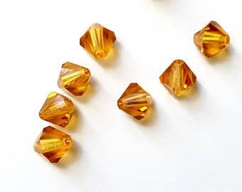 10 6 mm Topaz Swarovski Crystal bicone beads