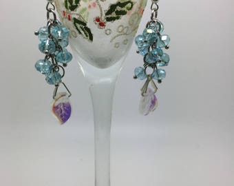 Leaf pendant and Blue Crystal cluster earrings
