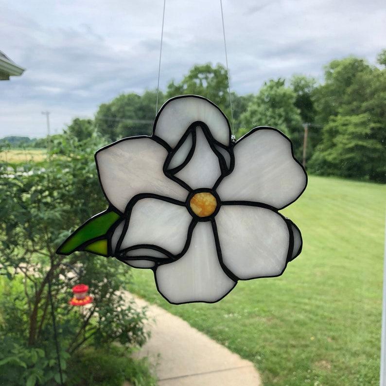 white flower bridesmaid gift birthday gift wedding gift gardener stained glass flower White Magnolia wedding
