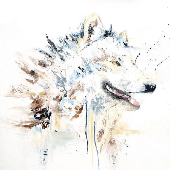 Wolf Painting On Canvas Large Abstract Wolf Painting Wolf Canvas Art